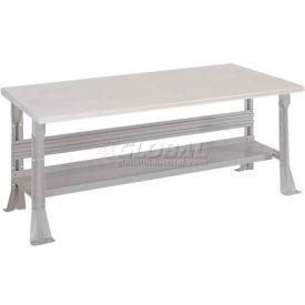 Open Leg Bench w/Shelf and ESD Safety Edge Top- 6', Dove Gray