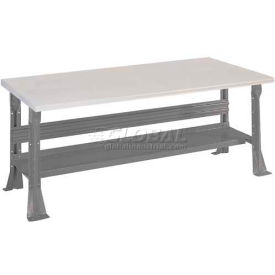 Open Leg Bench w/Shelf and ESD Safety Edge Top- 4', Office Gray