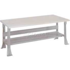 Open Leg Bench w/Shelf and Conductive Top- 4', Dove Gray
