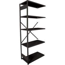 """Equipto VG-20 Gauge Open Shelf Add On Unit - 36""""W X 18""""D X 84""""H w/ 5 Shelves, Textured Black"""