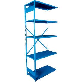 """Equipto VG-20 Gauge Open Shelf Add On Unit - 36""""W X 18""""D X 84""""H w/ 5 Shelves, Textured Regal Blue"""
