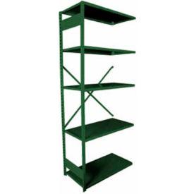 """Equipto VG-20 Gauge Open Shelf Add On Unit - 36""""W X 18""""D X 84""""H w/ 5 Shelves, Textured Evergreen"""