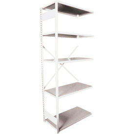 "Equipto VG-20 Gauge Open Shelf Add On Unit - 36""W X 18""D X 84""H w/ 5 Shelves, Reflective White"