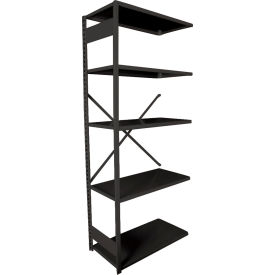 """Equipto VG-20 Gauge Open Shelf Add On Unit - 36""""W X 18""""D X 84""""H w/ 7 Shelves, Textured Black"""