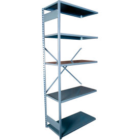 "Equipto VG-20 Gauge Open Shelf Add On Unit - 36""W X 18""D X 84""H w/ 7 Shelves, Textured Dove Gray"
