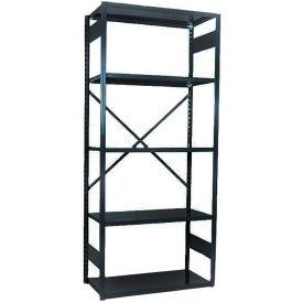"""Equipto VG-20 Gauge Open Shelf Starter Unit - 36""""W X 18""""D X 84""""H w/ 7 Shelves, Textured Black"""