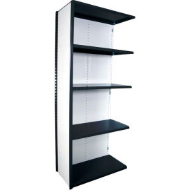 "Equipto VG-20 Gauge Closed Shelf Add On Unit - 36""W X 18""D X 84""H w/ 5 Shelves, Textured Black"