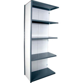 "Equipto VG-20 Gauge Closed Shelf Add On Unit - 36""W X 18""D X 84""H w/ 5 Shelves, Smooth Office Gray"
