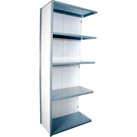 "Equipto VG-20 Gauge Closed Shelf Add On Unit - 36""W X 18""D X 84""H w/ 5 Shelves, Textured Dove Gray"