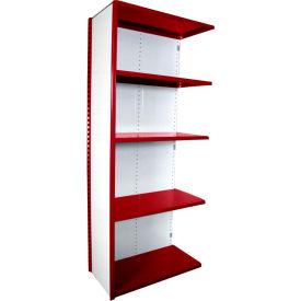 "Equipto VG-20 Gauge Closed Shelf Add On Unit - 36""W X 18""D X 84""H w/ 5 Shelves, Textured Cherry Red"