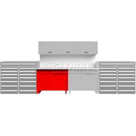 Tech Bench w/ Sliding Door 5' Double, Red