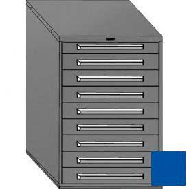 "Equipto 30""W Modular Cabinet 9 Drawers w/Dividers, 44""H, Keyed Alike Lock-Textured Regal Blue"