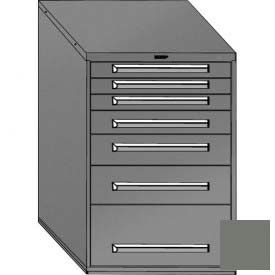 "Equipto 30""W Modular Cabinet 44""H, 7 Drawers w/Dividers, No Lock-Smooth Office Gray"