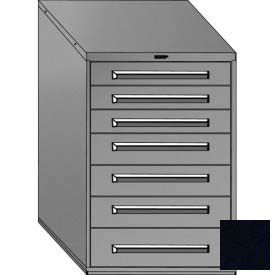 """Equipto 30""""Wx44""""H Modular Cabinet 7 Drawers w/Dividers, & Lock-Textured Black"""