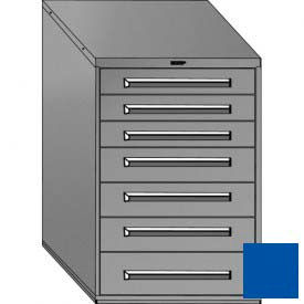 """Equipto 30""""Wx44""""H Modular Cabinet 7 Drawers w/Dividers, & Lock-Textured Regal Blue"""