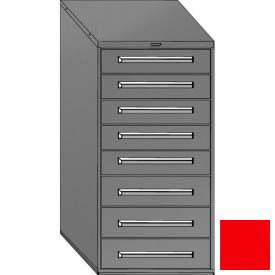 "Equipto 30""W Modular Cabinet 59""H, 8 Drawers w/Dividers, & Lock-Textured Cherry Red"