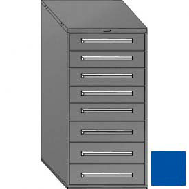 "Equipto 30""W Modular Cabinet 59""H, 8 Drawers No Divider, Keyed Alike Lock-Textured Regal Blue"