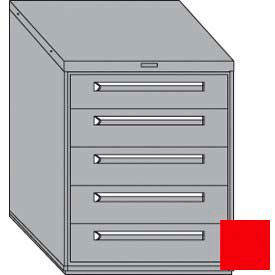"""Equipto 30""""W Modular Cabinet 5 Drawers w/Dividers, 38""""H, Keyed Alike Lock-Textured Cherry Red"""