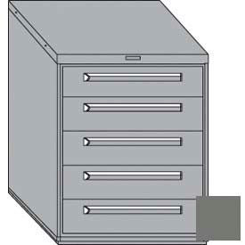 """Equipto 30""""W Modular Cabinet 5 Drawers No Divider, 38""""H, Keyed Alike Lock-Smooth Office Gray"""