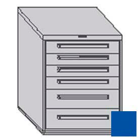 "Equipto 30""W Modular Cabinet 6 Drawers w/Dividers, 38""H, No Lock-Textured Regal Blue"