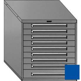 "Equipto 30""W Modular Cabinet 33-1/2""H, 9 Drawers w/Dividers, Keyed Alike Lock-Textured Regal Blue"