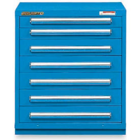 "Equipto 30""Wx33-1/2""H Modular Cabinet 7 Drawers w/Dividers, No Lock-Textured Regal Blue"