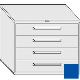 """Equipto 45""""W Modular Cabinet 38""""H 4 Drawers w/Dividers, & Lock-Textured Regal Blue"""