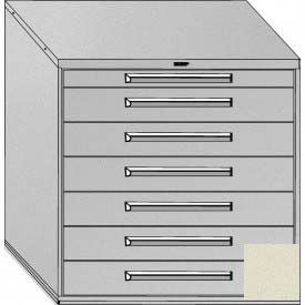 "Equipto 45""W Modular Cabinet 44""H, 7 Drawers w/Dividers, & Lock-Textured Putty"