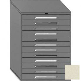 "Equipto 45""W Modular Cabinet 12 Drawers No Divider, 59""H & Lock-Textured Putty"