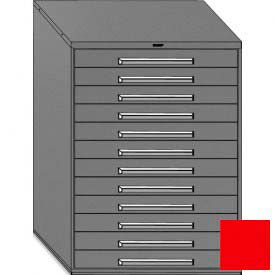 "Equipto 45""W Modular Cabinet 12 Drawers No Divider, 59""H & Lock-Textured Cherry Red"