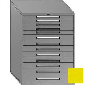 "Equipto 45""W Modular Cabinet 13 Drawers w/Dividers, 59""H & Lock-Textured Safety Yellow"