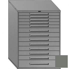"""Equipto 45""""W Modular Cabinet 13 Drawers w/Dividers, 59""""H, Keyed Alike Lock-Smooth Office Gray"""