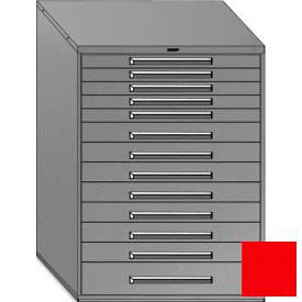 """Equipto 45""""W Modular Cabinet 13 Drawers w/Dividers, 59""""H, No Lock-Textured Cherry Red"""