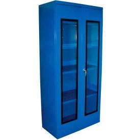 Equipto Quick View Cabinet 36 x 18 x 42, Unassembled - Textured Regal Blue