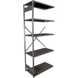 "Equipto VG-20 Gauge Open Shelf Add On Unit - 36""W X 18""D X 84""H w/ 5 Shelves, Smooth Office Gray"