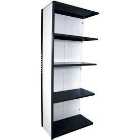 "Equipto Vg Closed Shelf Add On Unit - 36"" W X 12"" D X 84"" H W/ 5 Shelves, Textured Black"