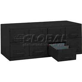 "Equipto Cabinet w/8 Drawers, 23""W x 12""D x 9-3/8""H, Textured Black"