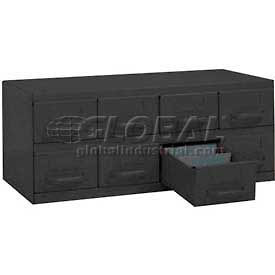 """Equipto Cabinet w/8 Drawers, 23""""W x 12""""D x 9-3/8""""H, Textured Evergreen"""