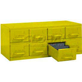 "Equipto Cabinet w/8 Drawers, 23""W x 12""D x 9-3/8""H, Textured Safety Yellow"