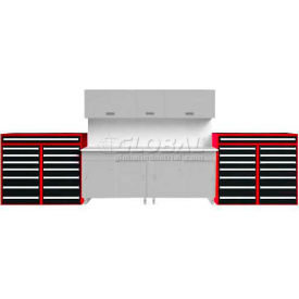 """EB Double Bank Tool Cabinet 60""""W x 44""""H, Office Gray"""