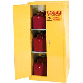 Equipto 45 Gal. Two-Door Manual Close Flammable Liquid Storage Cabinet - Safety Yellow