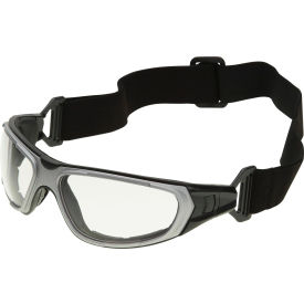 NT2 Interchangeable Safety Glasses, ERB Safety, 17997 Gray Frame, Clear Anti-Fog Lens Package Count 12 by