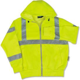 Aware Wear® ANSI Class 3 Hooded, Zipper Sweatshirt, 61530 - Lime, Size 4XL