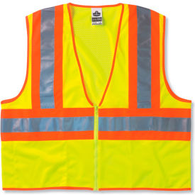 Ergodyne® GloWear® 8229Z Class 2 Economy Two-Tone Vest, Lime, 4XL/5XL