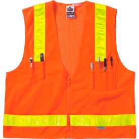 Ergodyne® GloWear® 8250ZHG Class 2 Hi-Gloss Surveyors Vest, Orange, L/XL