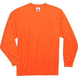 Ergodyne® GloWear® 8091 Non-Certified Long Sleeve T-Shirt, Orange, M