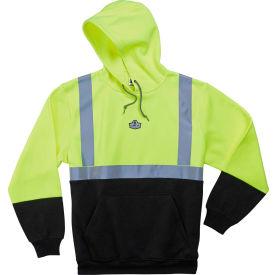 Ergodyne® GloWear® 8293 Class 2 Hooded Sweatshirt W/Black Front, Lime/Black, 5XL