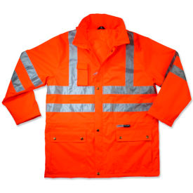 Ergodyne® GloWear® 8365 Class 3 Rain Jacket, Orange, L