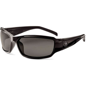 Ergodyne® Skullerz® Thor Safety Glasses W/Fog-Off, Smoke AF Lens, Black Frame