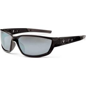 Ergodyne® Skullerz® Kvasir Safety Glasses, Silver Mirror Lens, Black Frame